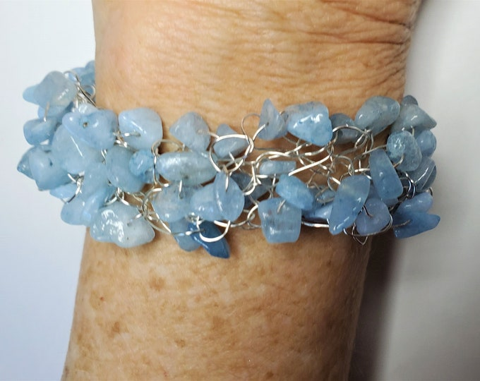 Light Blue CHALCEDONY Chip Beads Wire Crocheted into a Bracelet with Short Extender Chain and Dangle