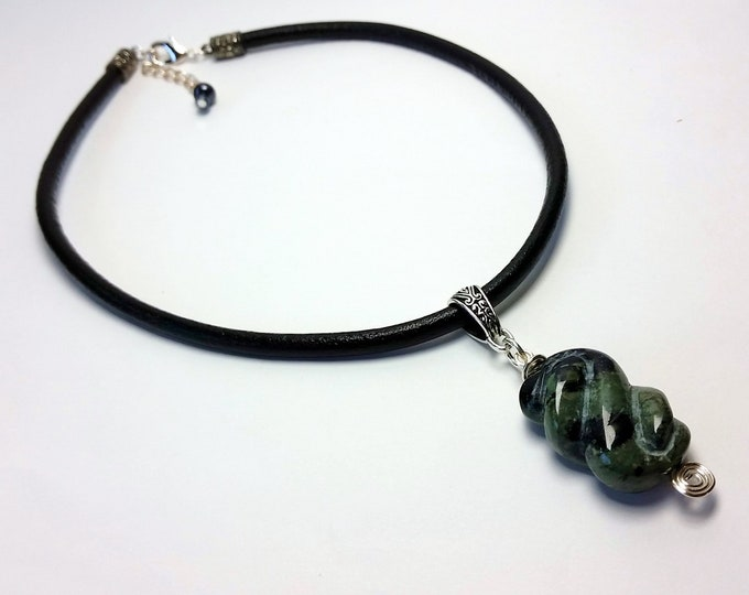 Swirly Twisted Rectangular Kambaba Jasper Pendant on Choker Length Black Leather Cord - Green and Black Fossil Stone Pendant