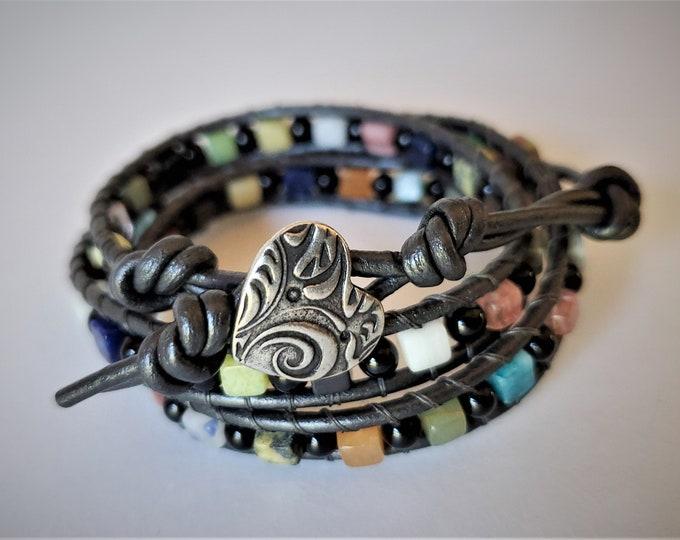 Gemstone Triple Wrap Bracelet with Variety of Cube Shaped Gemstones Alternating with Round Black Onyx Beads, Metallic Gray Leather