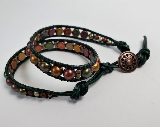 Bronze Luster Czechmates Double Wrap Bracelet on Forest Green Leather