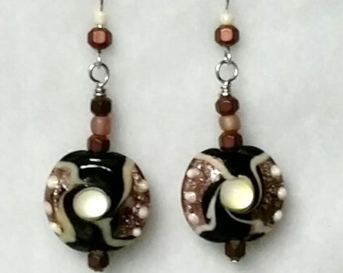 Lampwork Bead Drop Earrings - Textured Lampwork Earrings with Metallic Pink and Black and Pearl Swirls