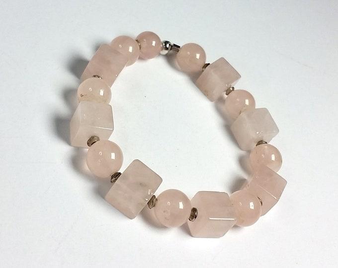 Pretty in Pink Rose Quartz Stretch Bracelet - Cube and Round Rose Quartz Beads Stretch Bracelet