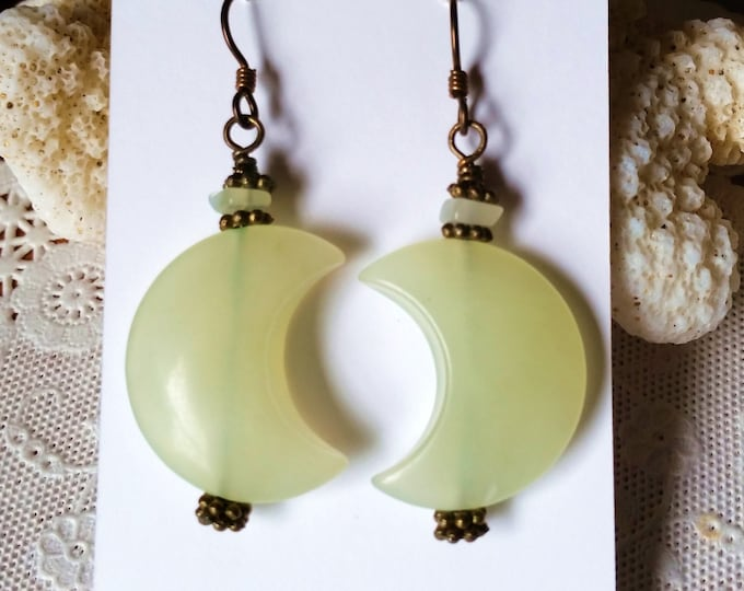 Pale Green Aventurine Moon Shape Earrings With Antique Brass Niobium Hypoallergenic Ear Wire