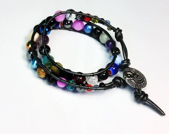 Rainbow Beads Bracelet - Double Wrap Bracelet - Adjustable Bracelet - Button Clasp Bracelet - Colorful Bracelet