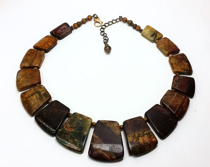 Yummy Earthy Autumn Tones Stone Necklace - Picture Jasper Collar Style Necklace with Adjustable Length - Conversation Piece Necklace