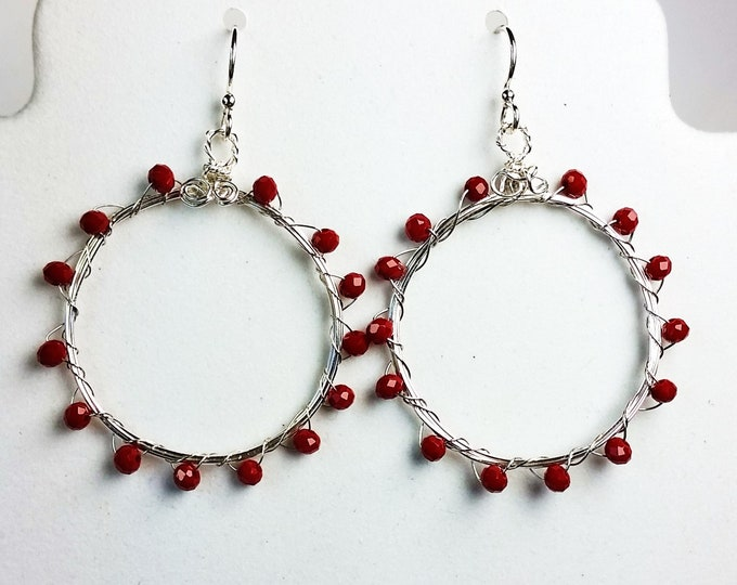 Ruby Red Fire Polished Crystals on Medium Size Silver Hoop Earrings - Red Jewelry - Crystal Jewelry - Hoop Earrings