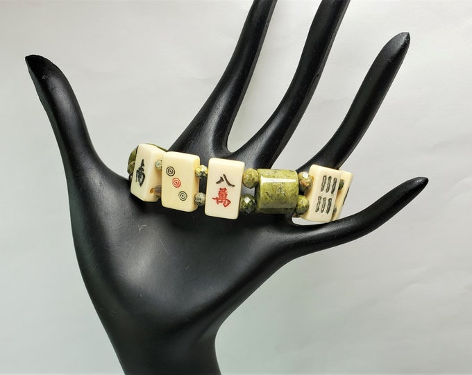 Mahjong Stretch Bracelet w/Small Rectangular Beige Mah Jong Tiles, Earthy Unikite Green & Peach Beads