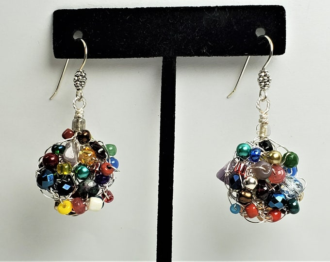 Drop Earrings Wire Crocheted and Woven with Gemstones, Pearls and Crystals in a Rainbow of Color