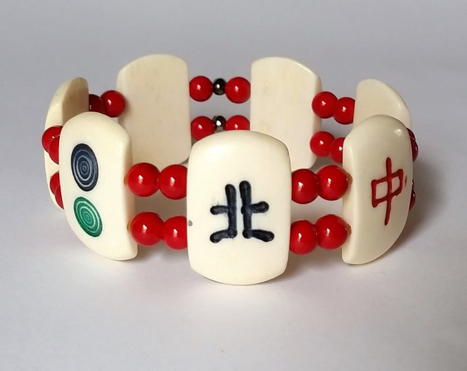 MahJong Tile Stretch Bracelet with Red Beads