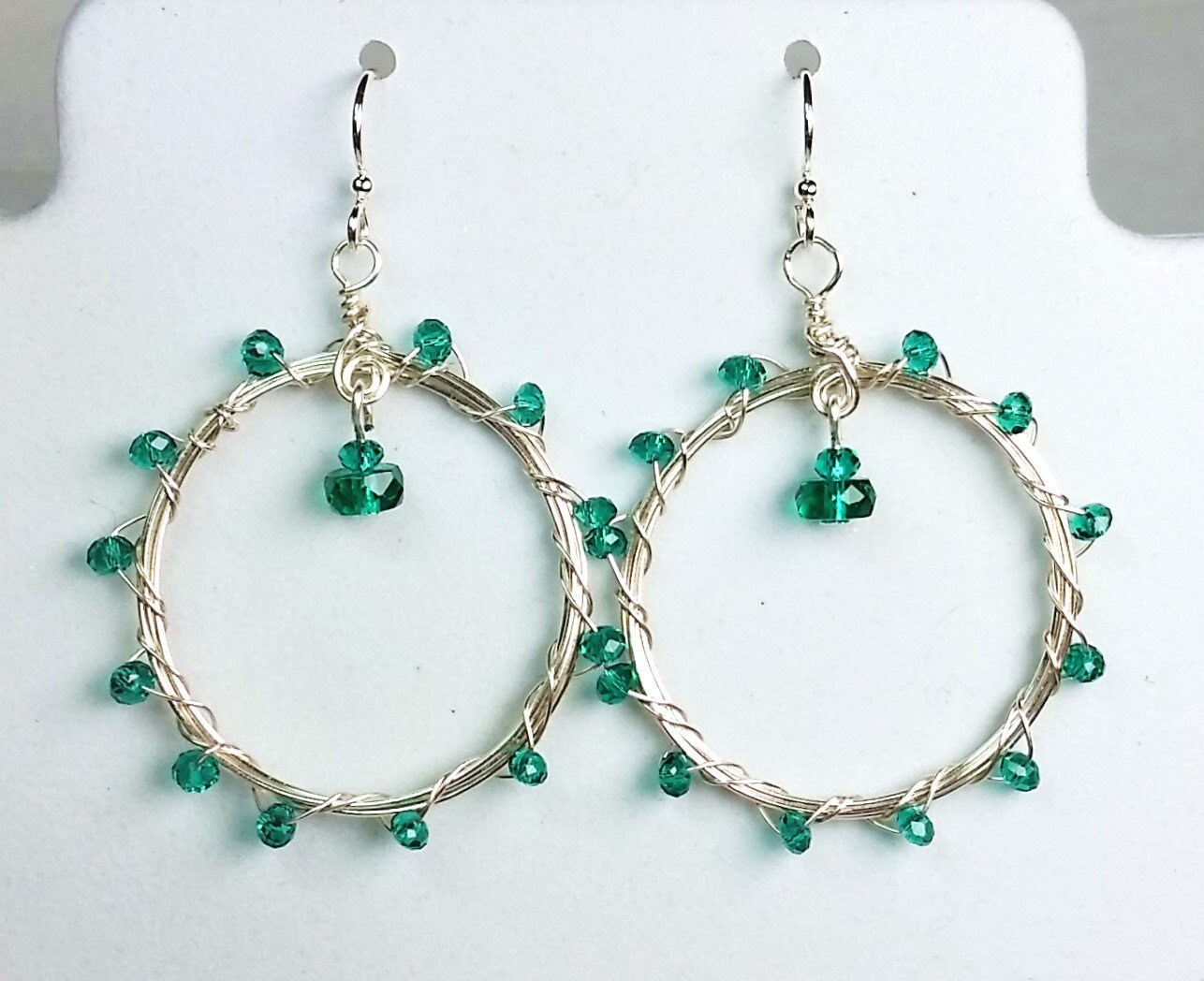 Teal Green Hoop Earrings - Wire Wrapped and Woven Earrings - Green ...