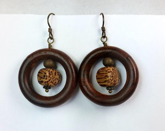 Wood Hoop Earrings with Betel Nut Beads on Hypoallergenic Ear Wire