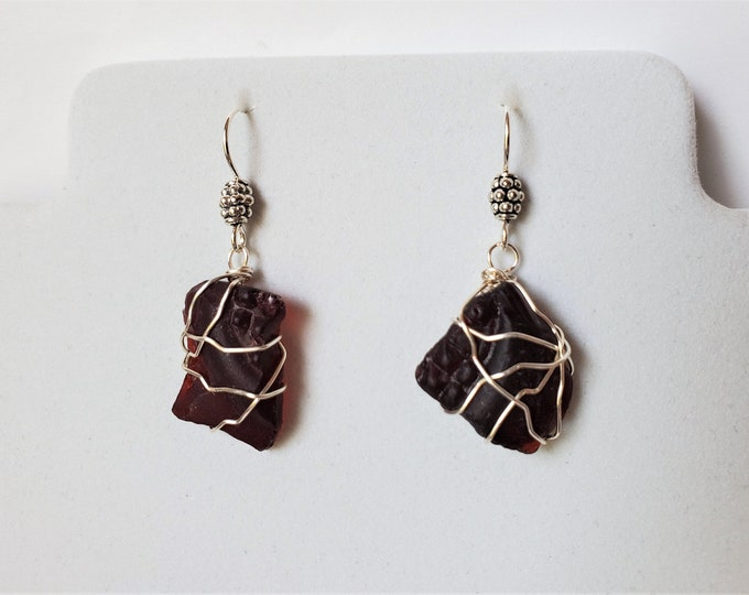 Beach Glass Earrings in Dark Red, Dangle from Sterling Silver Ear Wires - Deep Red Wire Wrapped Textured Sea Glass Earrings