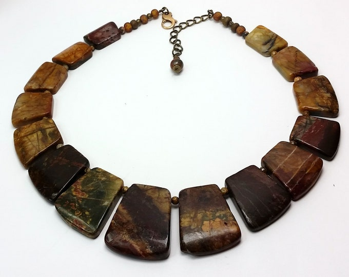 Earthy Autumn Tones Stone Necklace - Picture Jasper Collar Style Necklace with Adjustable Length - Conversation Piece Necklace