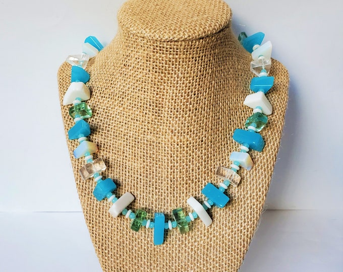 Aqua, Opalescent and White Angular Art Glass Necklace and Earrings - Artsy One of a Kind Necklace set in Aquamarine Hues