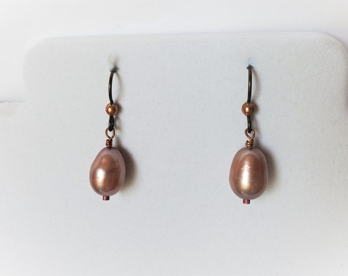 Elegant Pearl Earrings on Hypoallergenic Ear Wires with Copper Trim - Peachy Lustrous Teardrop Shaped Pearl Earrings June Birthstone