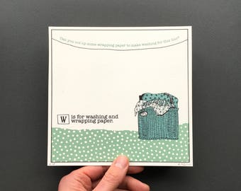 W is for Washing - Original Artwork from An A to Z Treasure Hunt