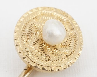 antique 18k gold engraved stick pin with 4mm natural pearl ww
