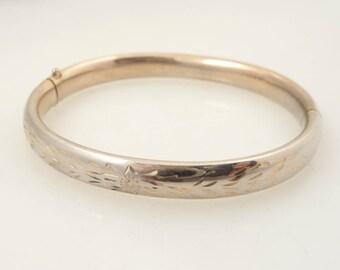RESERVED for mellygirlsells ================================= Antique Gold Filled Etched Bangle Bracelet
