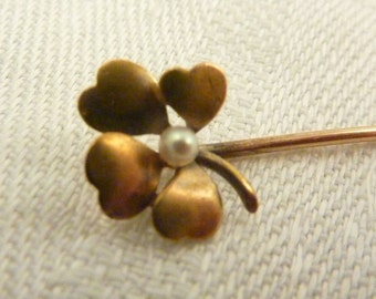 Vinatge 14K Gold Seed Pearl Four Leaf Clover Pin