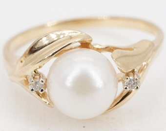 size 7 vintage 14k gold 7mm pearl and diamond ring - ww