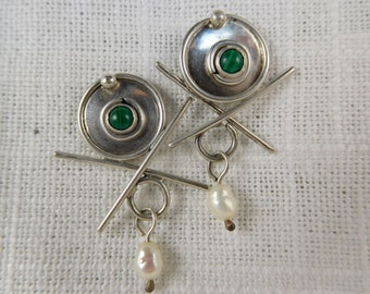 Vintage Handmade Sterling Silver Earrings with Malachite and Baroque Pearl