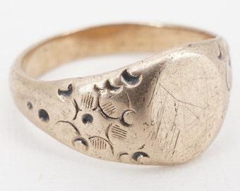 antique 10k gold hand stamped child's signet ring - ww