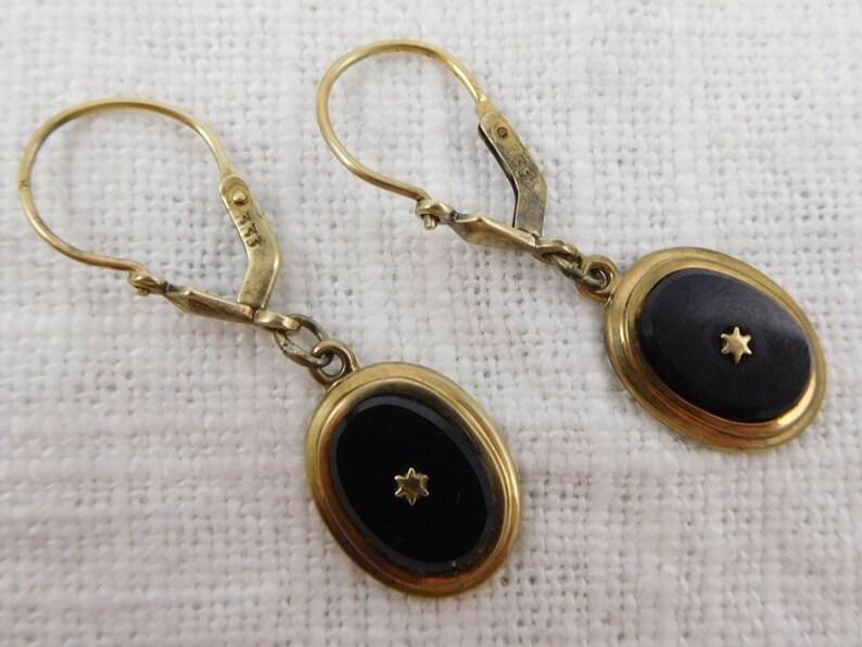 Antique 10k Gold WW Jet Earrings