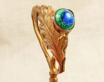 Antique Brass Art Nouveau Feather Stick Pin with Peacock Eye Foil Glass