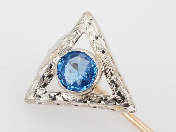 vintage 14k gold blue glass triangle stick pin bro