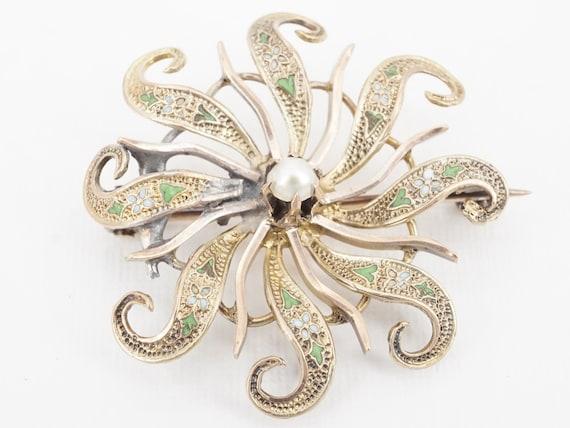 antique victorian 10k gold enamel brooch - ww