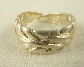 Size 10 Vintage Sterling Feather Wrap Ring