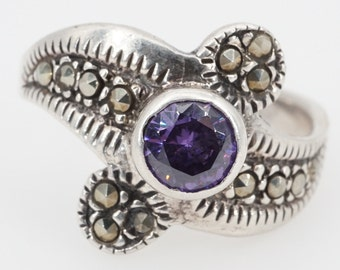 size 6.5 vintage sterling silver marcasite and glass ring