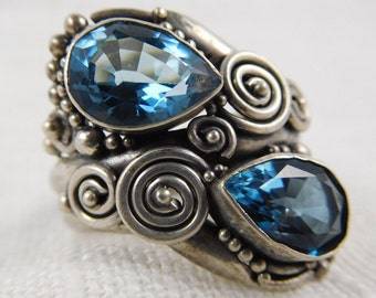 Vintage Sterling Large Thai Wrap Ring with Blue Topaz stones and Applied Beads