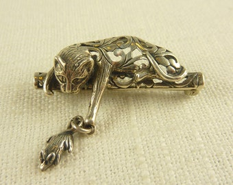 Vintage Sterling Cat and Mouse Brooch