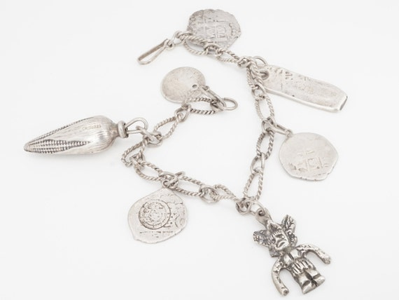 antique mexican silver coin charm bracelet