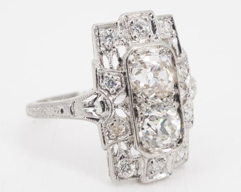 size 6 antique deco platinum filigree .75 ctw old mine cut diamond ring with engraved band - ww