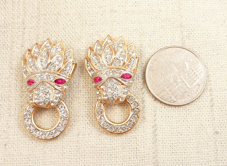Stunning Vintage Rhinestone Lion Head Knocker Red Bead Necklace with Matching Clip Earrings - SALE