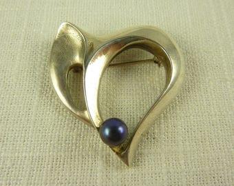 Vintage Handmade Sterling and Tahitian Pearl Modern Brooch