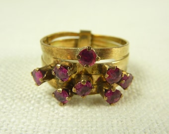 Size 6.5 Antique 14K Gold and Ruby Stacking Ring