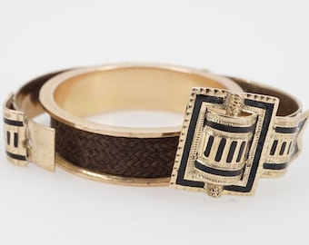 size 8 vintage 14k gold mourning band, enamel opening buckle with hair inside - ww