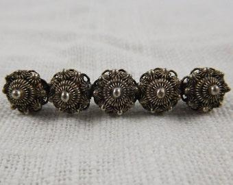 Vintage Dutch Silver Zeeuwse Knop Rondel Bar Pin