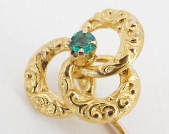 vintage 10k gold glass stick pin - ww