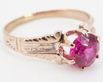 size 5.5 antique victorian 10k rose gold simulated ruby ring - ww