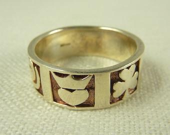Size 11 Vintage Sterling Celtic Symbols Ring