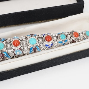 Antique Chinese Export Silver Finger Guard Glass Stone Enamel Silver Finger Guard Brooch Posey Pin