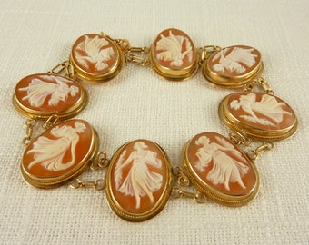 Vintage 14K Gold Shell Cameo Dancing Ladies, Goddess Holding Water Pitcher Link Bracelet