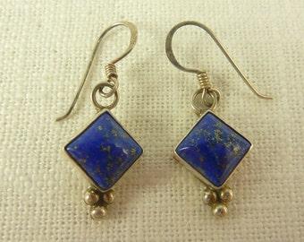 Vintage Nakai Sterling and Lapis Diamond Shaped Earrings