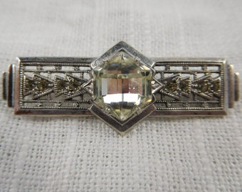 Antique Deco Styled Sterling Silver Uncas Large Rhinestone Brooch
