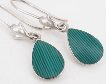 vintage sterling green enamel dangle drop earrings