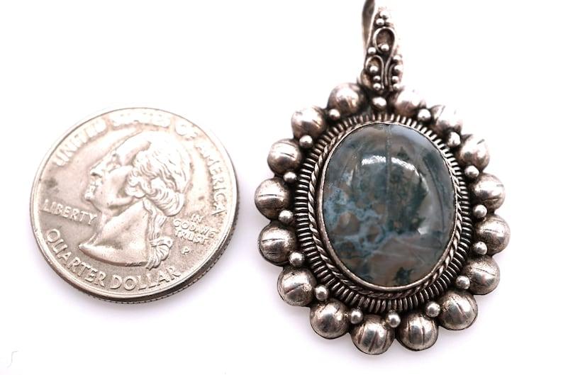 vintage handmade sterling carved moss agate pendant